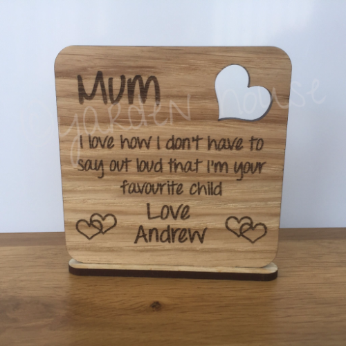 Coaster plaque with Mum words, just add the name of your choice