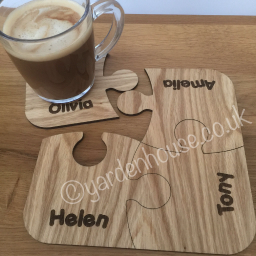 Connected Coaster Jigsaw, engraved with names, 4mm Oak veneer, top quality item