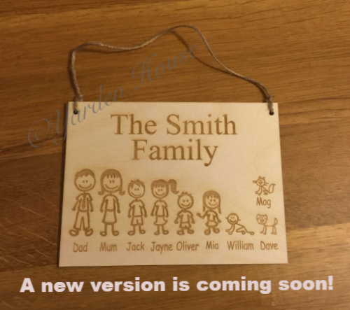 Family Character Plaque, up to 8 family members, Birch ply, laser engraved