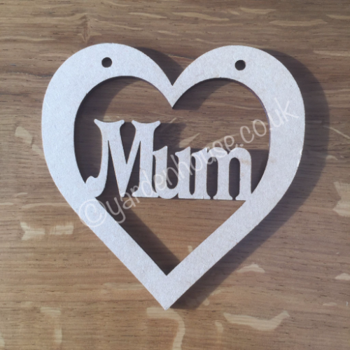 Hanging 10cm heart, 'Mum', pack of 4 10cm x 10cm x 3mm MDF