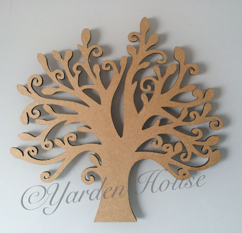 Mdf (3mm) Tree 3, Curly style (20cm high x 21cm wide)