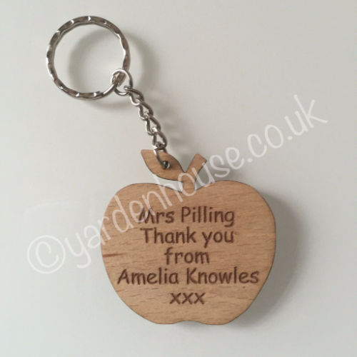 Teacher Apple Keyring, 'Thank you'