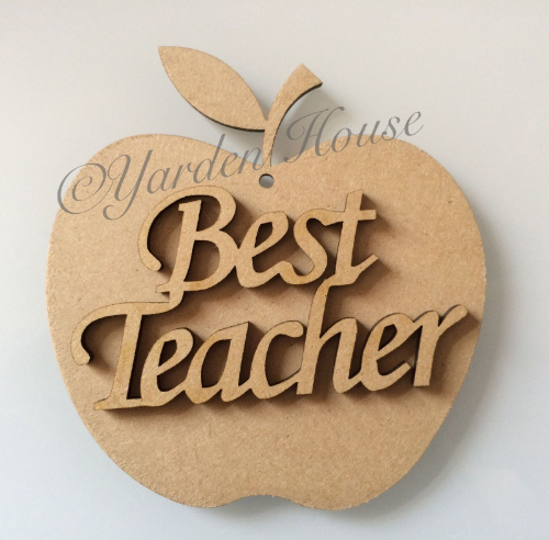Teacher Gift, Hanging 10cm (3mm MDF) Apple, inc MDF joined words 'Best Teacher'