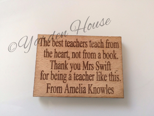 Teacher Magnet Gift, Oak Veneer