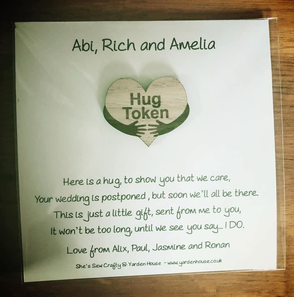Wedding Postponed Hug Token - BILLING ADDRESS DELIVERY ONLY (£1.99 fixed postage)